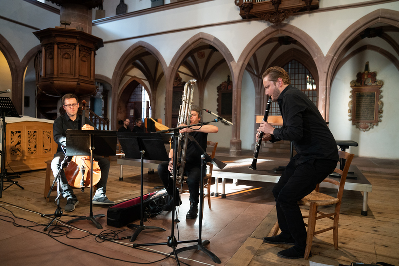 The Polish ensemble Bastarda improvising on music by Petrus Wilhelmi de Grudencz at a concert during the international Medieval and Renaissance Music Conference 2019 in Basel, foto Susanne Drescher